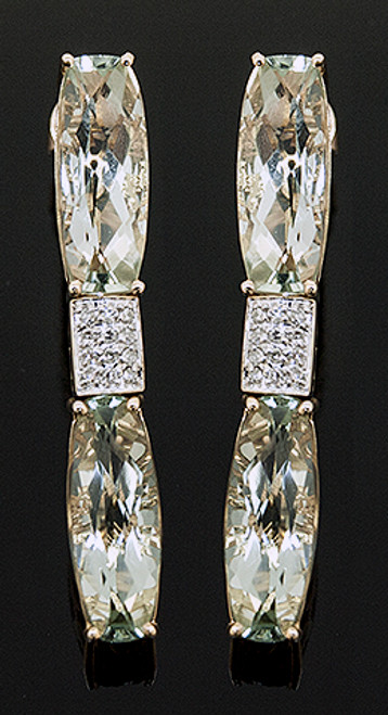 JH10334 GREEN AMETHYST AND DIAMOND DANGLE EARRINGS 14K