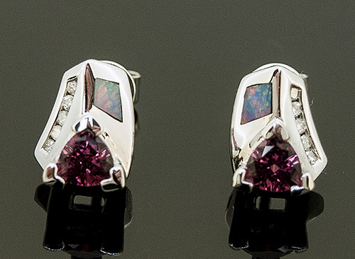 20910076 PINK TOURMALINE, OPAL AND DIAMOND STUD EARRINGS 14K
