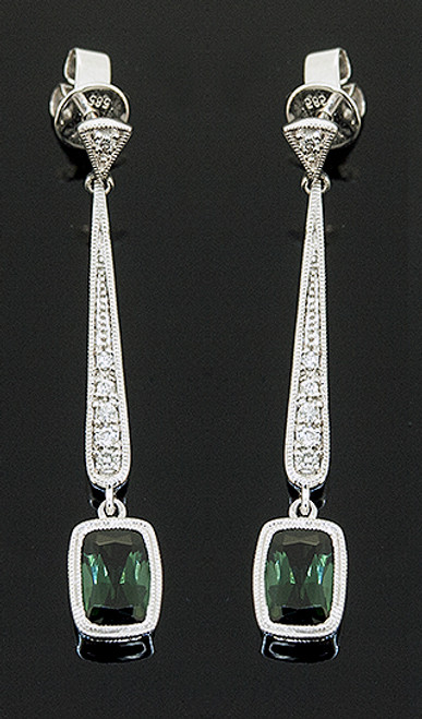 23510144 GREEN TOURMALINE AND DIAMOND DANGLE EARRINGS 14K