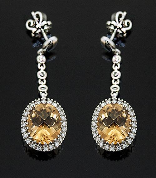 IS410057 CITRINE AND DIAMOND DANGLE EARRINGS 14K