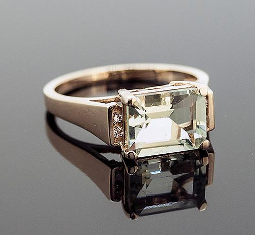 GBC11184 GREEN AMETHYST AND DIAMOND RING 10K