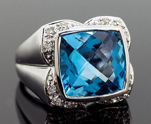 GBC11023 BLUE TOPAZ AND DIAMOND RING 14K