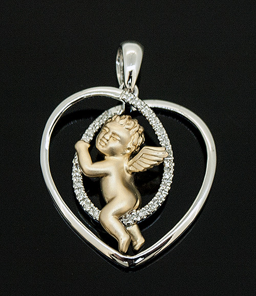 TT10578 DIAMOND HEART CHERUB PENDANT 14K