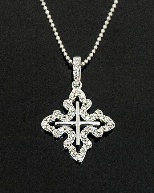 MKD10059 DIAMOND CROSS PENDANT 14K