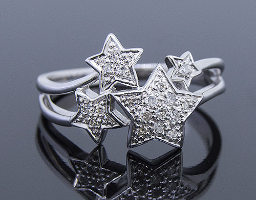 GBC12105 DIAMOND MULTI STAR RING 14KW