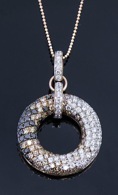 MKD10217 MULTI COLOR DIAMOND CIRCLE NECKLACE 14KR
