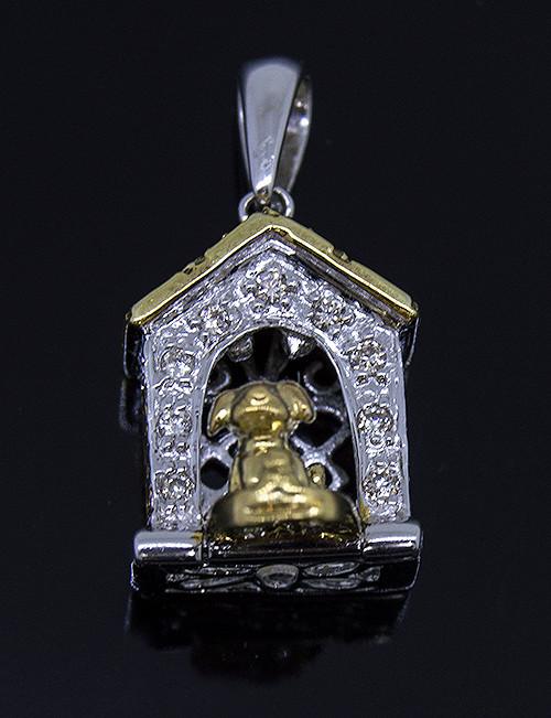 GBC12191 DIAMOND DOG HOUSE PENDANT 14KTT
