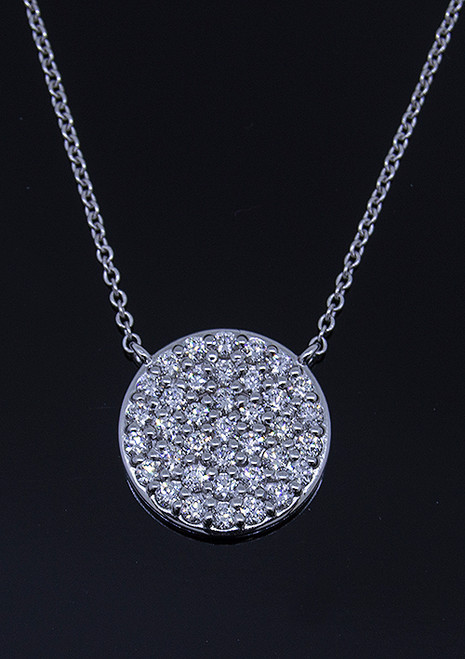GBC12235 ROUND PAVE DIAMOND NECKLACE 14KW