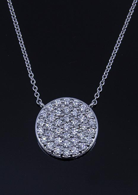 GBC12235 ROUND PAVE DIAMOND NECKLACE 14KW