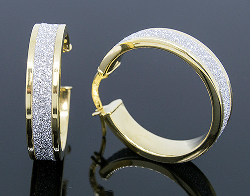 MED10040 14KY GOLD LASER CUT HOOP EARRINGS