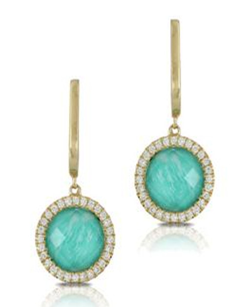 DOV10029 AMAZONITE AND DIAMOND DANGLE EARRINGS 18KY