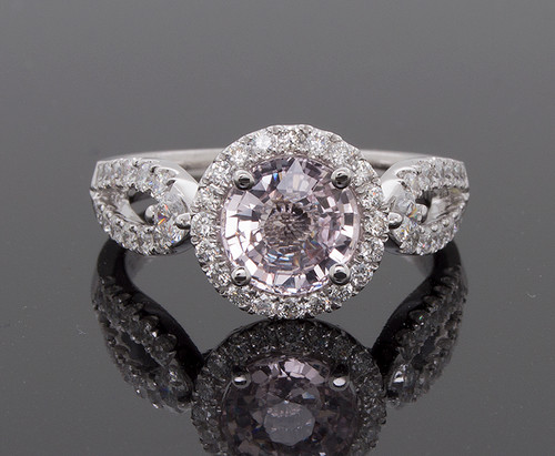 RPG10310 PADPARADSCHA PINK SAPPHIRE AND DIAMOND RING 18KW