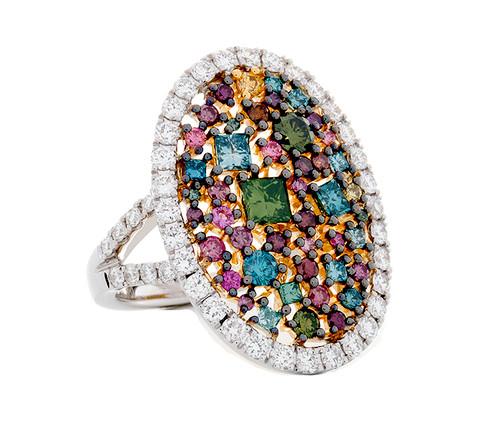 SIE10855 MULTI COLOR DIAMOND RING 18K