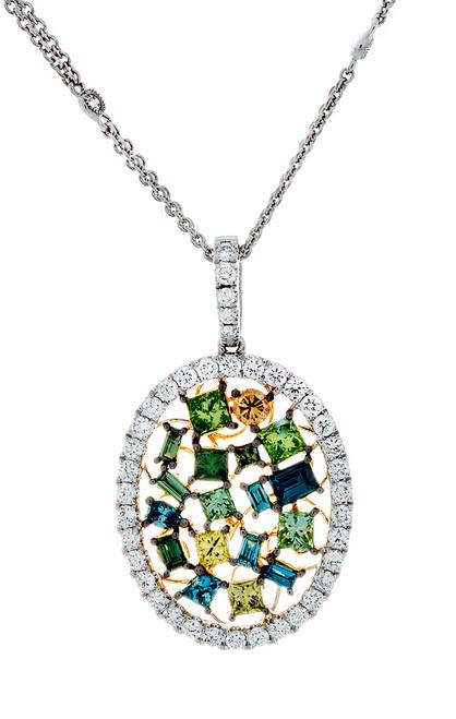 SIE10850 MULTI COLOR DIAMOND PENDANT 18K