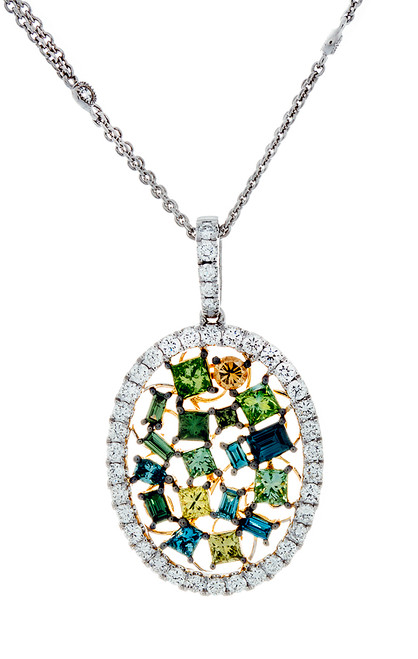 SIE10850 MULTI COLOR DIAMOND PENDANT 18K