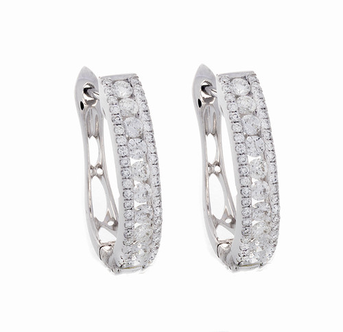 MKD10283 1.05CT DIAMOND HOOP EARRINGS 14KW