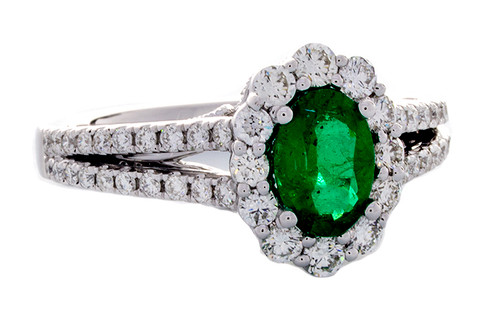 GBC12373 EMERALD AND DIAMOND RING 18KW
