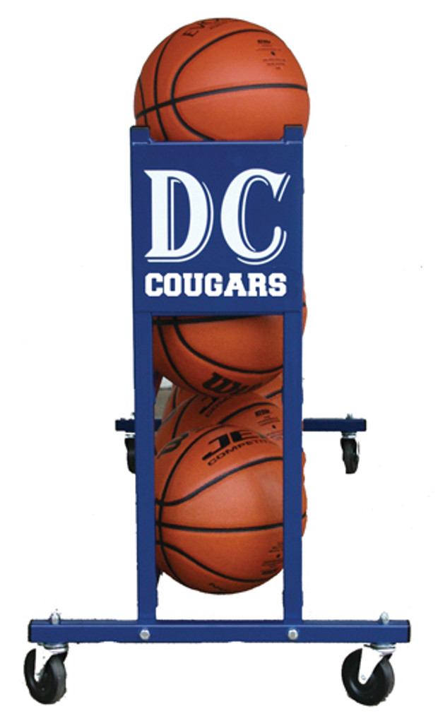 Custom Mascot Basketball Rack end view.