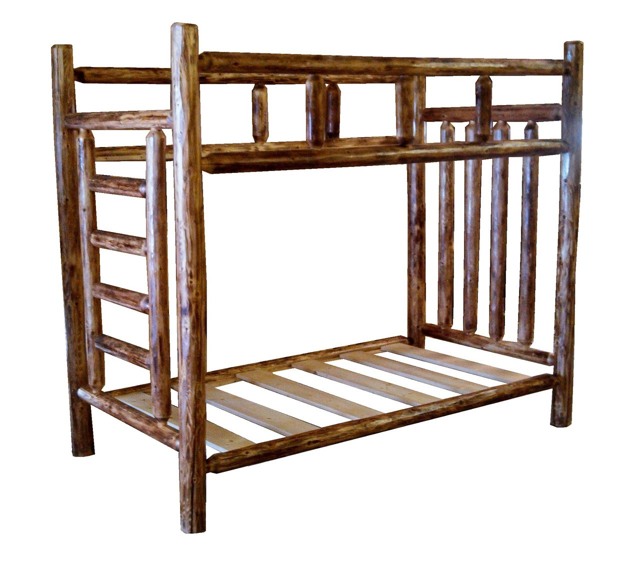 Picture of: Rustic Cedar Log Bunk Beds With Built In Ladder Free Shipping