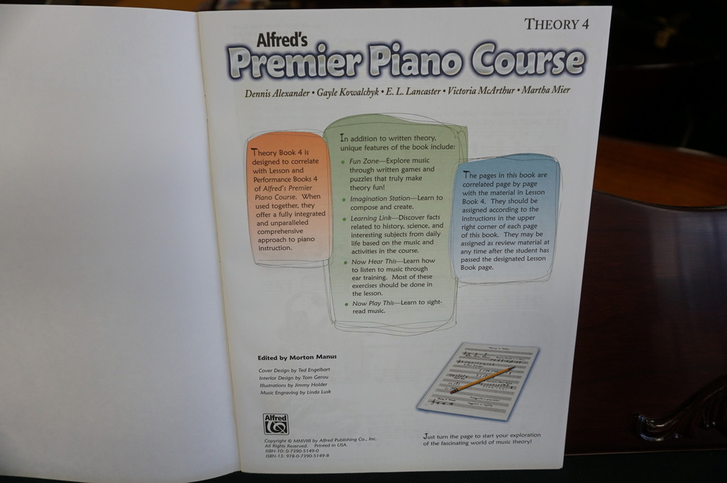 Alfred's Premier Piano Course Theory 4