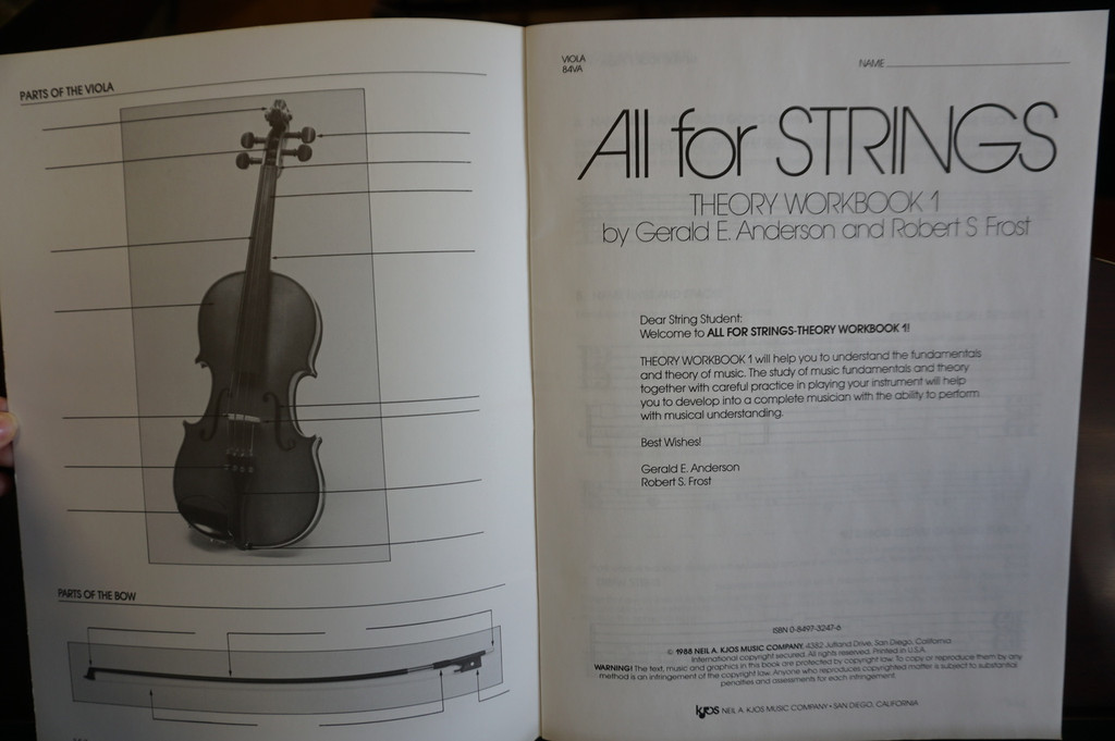 All for Strings Theory Workbook 1 Viola