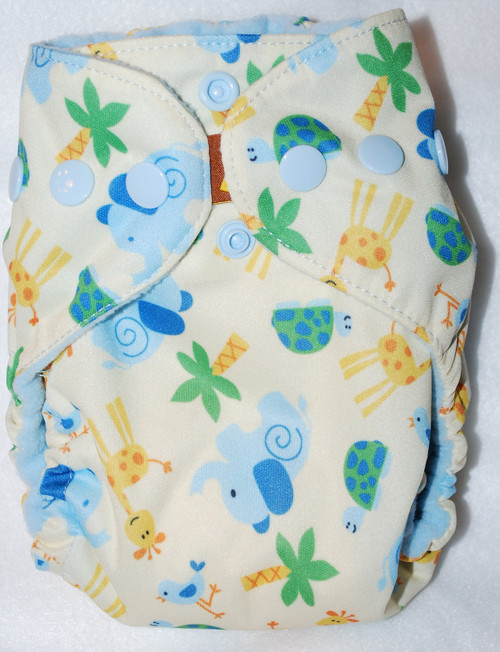 Elephants & Giraffes on Yellow  AIO Newborn Diaper