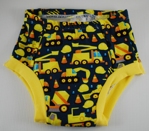 Construction  Vehicles on Navy Training Pants in Size 2T
