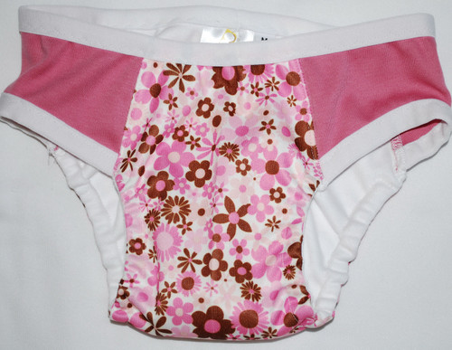 Pink & Brown Floral  Partially Waterproof Training Pants 2T