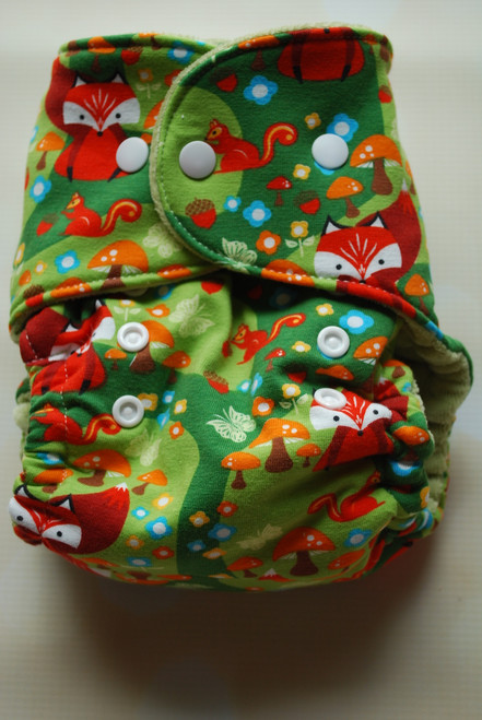 Woodland Fox One Size Hybrid Fitted Diaper