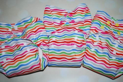 Striped Mermaid One Size AIO Diaper