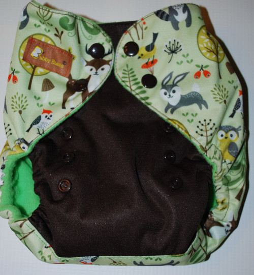 Forest Friends/Brown One Size AIO Diaper