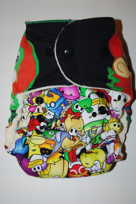 Mario & Dinosaur Hybrid Fitted One Size Diaper