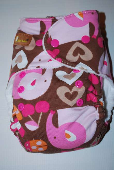 Pink Elephants Hybrid Fitted One Size Diaper