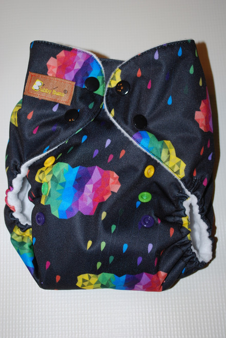 Colorful Clouds One Size AIO+ Diaper