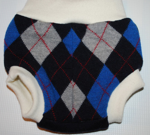 Small Argyle/Black Merino Wool Diaper Cover
