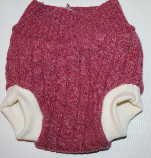 Dusty Rose Cable Knit  Wool Small Diaper Cover