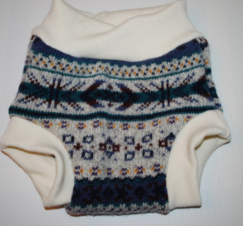 Large Patterned Wool Diaper Cover