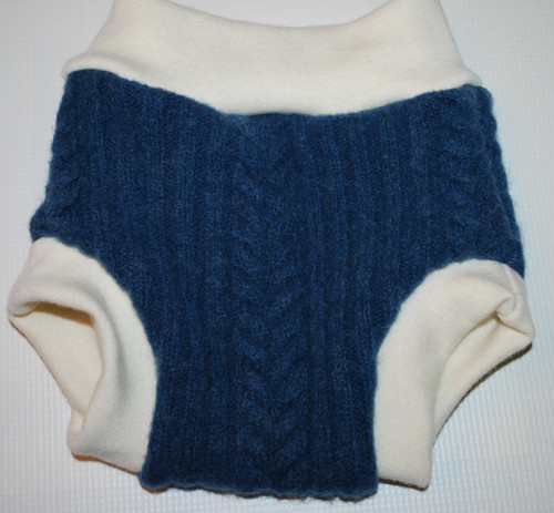 Large Blue Cable Knit Wool Diaper Cover