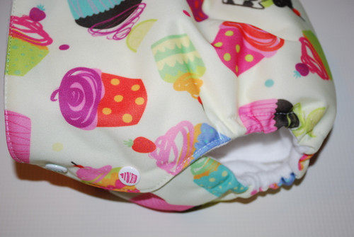 Cupcakes One Size AIO Diaper Side Snap Closure