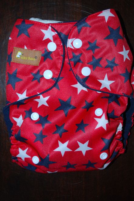 Stars on Red All In Two Diaper