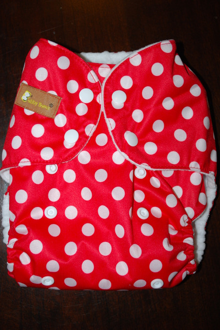 Red & White Polka Dot All In Two Diaper