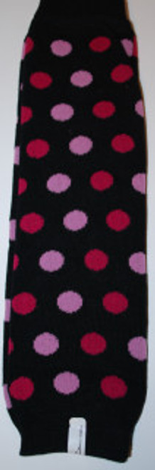 Black with Pink and Raspberry Dots Baby Leg Warmers