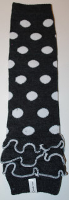 Gray and White Dots w/Ruffle Baby Leg Warmers