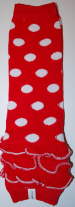 Red Polka Dots w/Ruffle Baby Leg Warmers