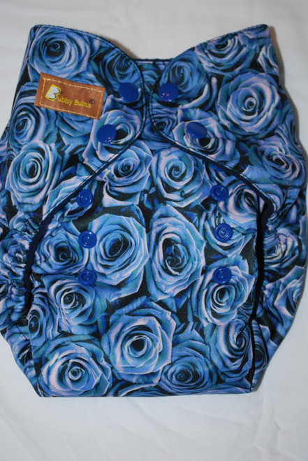 Blue Roses One Size AIO+ Diaper