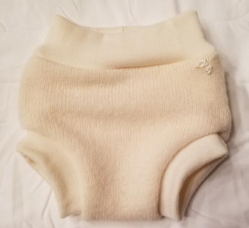 Small Cream Cashmere Wool Diaper Cover