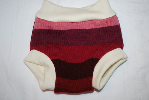 Pink/Burgundy Striped Merino  Wool Medium Diaper Cover