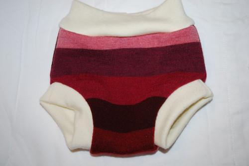 Pink/Burgundy Striped Merino  Wool Medium Diaper Cover