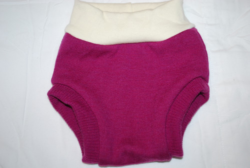 Raspberry Merino  Wool Medium Diaper Cover