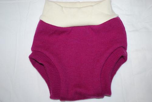 Raspberry Merino  Wool Medium Diaper Cover